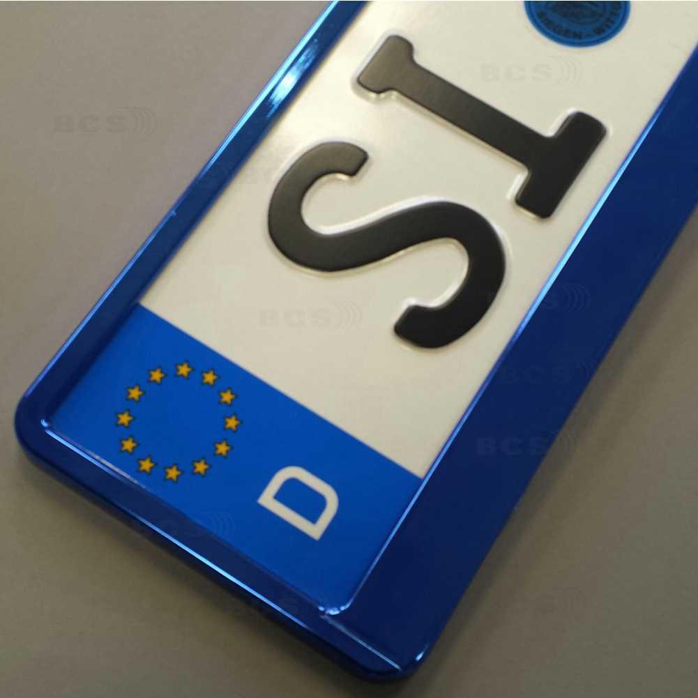 2 Stück blau Hochglanz metallic Optik Kennzeichenhalter ...