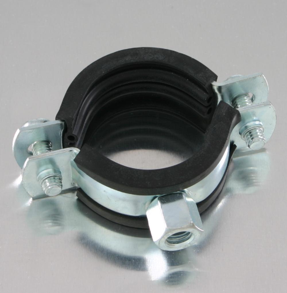 25 St/ück Rohrschellen 15-19 mm 3//8 Zoll Zweischraubenschelle mit Gummieinlage DIN 4109