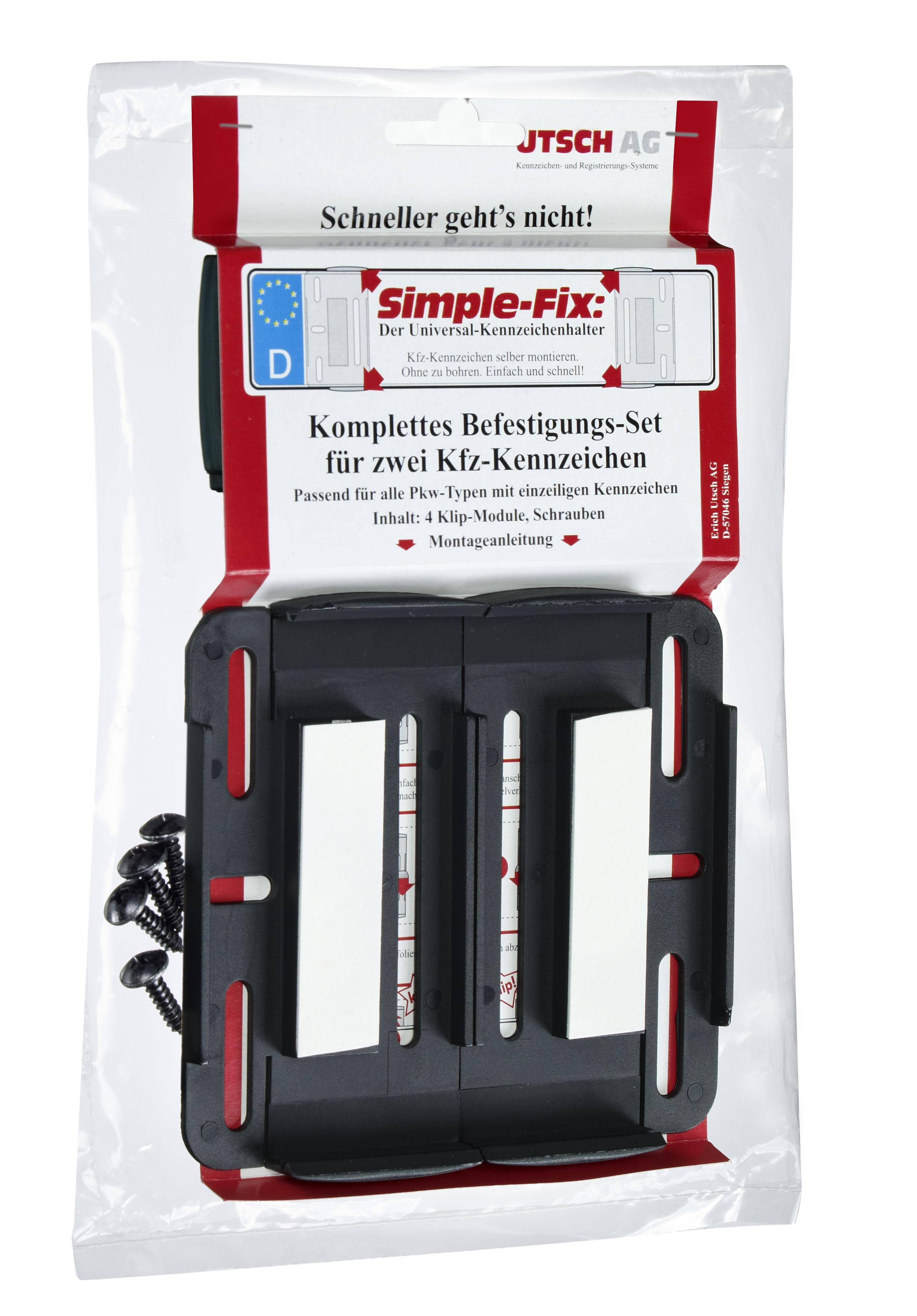 Simple Fix 2x Rahmenlos KFZ Kennzeichenhalter Nummernschildhalter ...