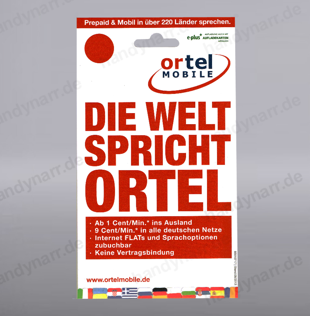 ortel mobile prepaid handy sim karte zum selber registrieren e plus base o2 blau ebay. Black Bedroom Furniture Sets. Home Design Ideas
